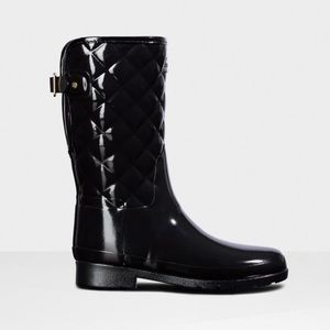 Hunter Black Quilted Rain Boots Short
